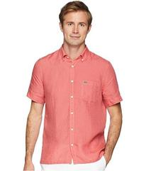 Lacoste Short Sleeve Solid Linen Button Down Colla