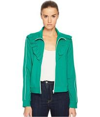 RED VALENTINO Jersey Zip-Up with Ruffle Detail