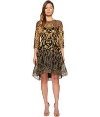 Marchesa 3/4 Length Sleeve Embroidered Hi-Lo Cockt