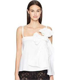 RED VALENTINO Stretch Compact Poplin Top with Bow