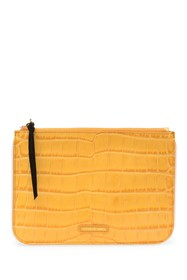 Elizabeth and James Croc Embossed Leather Zip Pouc