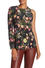 Theory Floral One Sleeve Silk Blouse