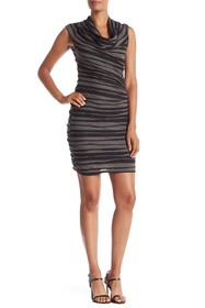 Max Studio Sleeveless Two-Toned Cowl Neck Dress