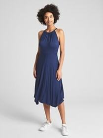 Halter-Neck Handkerchief Midi Dress