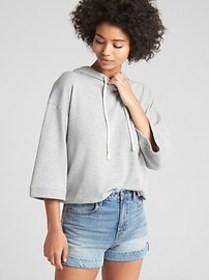 Wide-Sleeve Pullover Hoodie in French Terry
