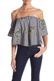 Romeo & Juliet Couture Off-the-Shoulder Gingham Pr