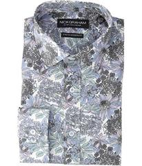 Nick Graham Large Floral Print Stretch Shirt