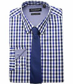 Nick Graham Multi Gingham Check Stretch Shirt with