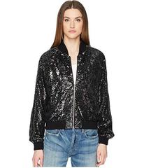 The Kooples Sequin Fabric Jacket with Contrasting