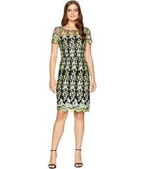 Tahari by ASL Embroidered Mesh Short Sleeve Sheath
