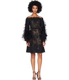 Marchesa Off the Shoulder Corded Lace Cocktail w/