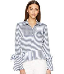Nicole Miller Collared Top with Tie Sleeve