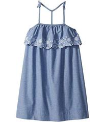 Tommy Hilfiger Chambray Scalloped Embroidered Dres