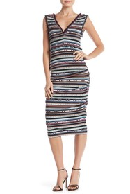 Nicole Miller Smocked Bodice Stripe Midi Dress