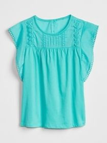 Embroidered Cascade Ruffle Top
