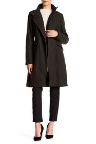 Cole Haan Mock Neck Solid Coat
