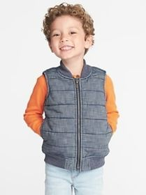 Quilted Chambray Vest for Toddler Boys