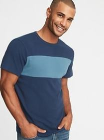 Plush-Knit Pieced Chest-Block Tee for Men