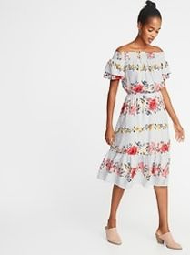 Waist-Defined Printed Midi for Women