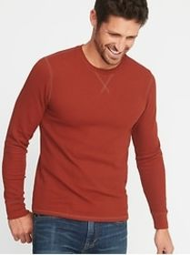 Soft-Washed Thermal Crew-Neck Tee for Men