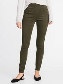 High-Rise Stevie Faux-Suede Ponte-Knit Pants for W