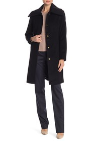 Cole Haan Stand Up Collar Wool Blend Coat