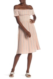 Roxy Pretty Lovers Smocked Off-the-Shoulder Dress