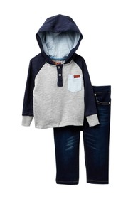 7 For All Mankind Hooded Henley & Jeans 2-Piece Se