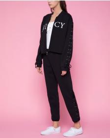 Juicy Couture Fleece Lace Up Bomber Jacket