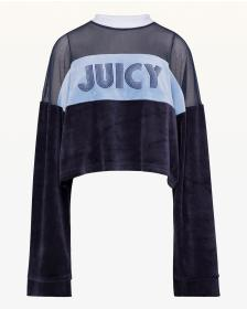 Juicy Couture Lightweight Velour & Mesh Crop Pullo