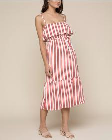 Juicy Couture Bold Stripe Ruffle Midi Dress
