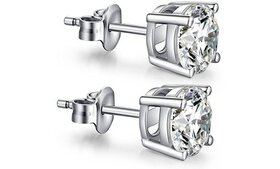 925 Sterling Silver Round Cubic Zirconia Stud Earr