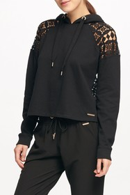 Donna Karan Lace Back Pullover Hoodie