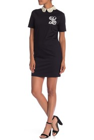 LOVE Moschino Crochet Collar Short Sleeve Dress