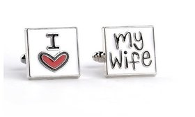 Alloy I Love My Wife Design Cuff Links for Men