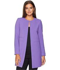 Tahari by ASL Round Neck Open Topper with Seam Det
