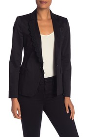 LOVE Moschino Open Front Knit Trim Blazer