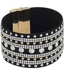 GUESS Wide Faux Leather Studded Cuff with Rhinesto