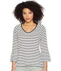 Calvin Klein Stripe V-Neck with Flare Sleeve