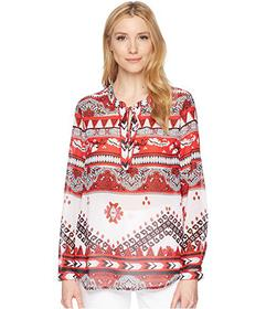 Tribal Georgette Long Sleeve Blouse with Back Gath