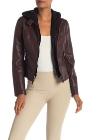 French Connection Pebble Faux Leather Moto Hooded