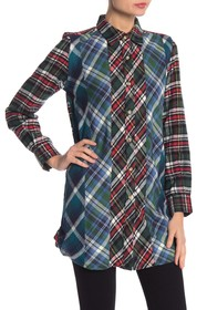 French Connection Front Button Plaid Blouse