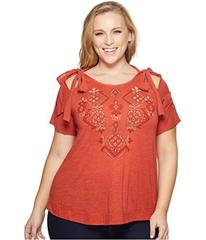 Lucky Brand Plus Size Embroidered Tie Shoulder Top