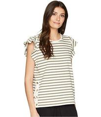 LAUREN Ralph Lauren Striped Cotton Flutter Sleeve