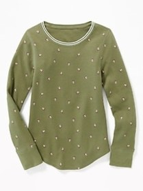 Thermal-Knit Scoop-Neck Tee for Girls