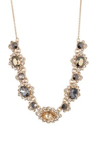 Marchesa Metallic Crystal Frontal Necklace