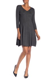Philosophy Apparel V-Neck 3/4 Sleeve Rib Knit Dres
