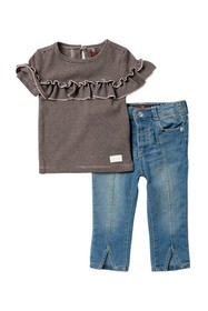 7 For All Mankind Striped Ruffle Top & Jeans (Baby
