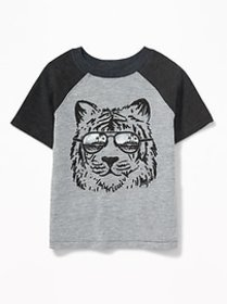 Tiger-Graphic Raglan-Sleeve Tee for Toddler Boys