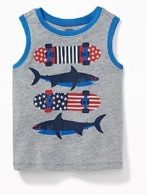 Americana Sharks & Skateboards Tank for Toddler Bo